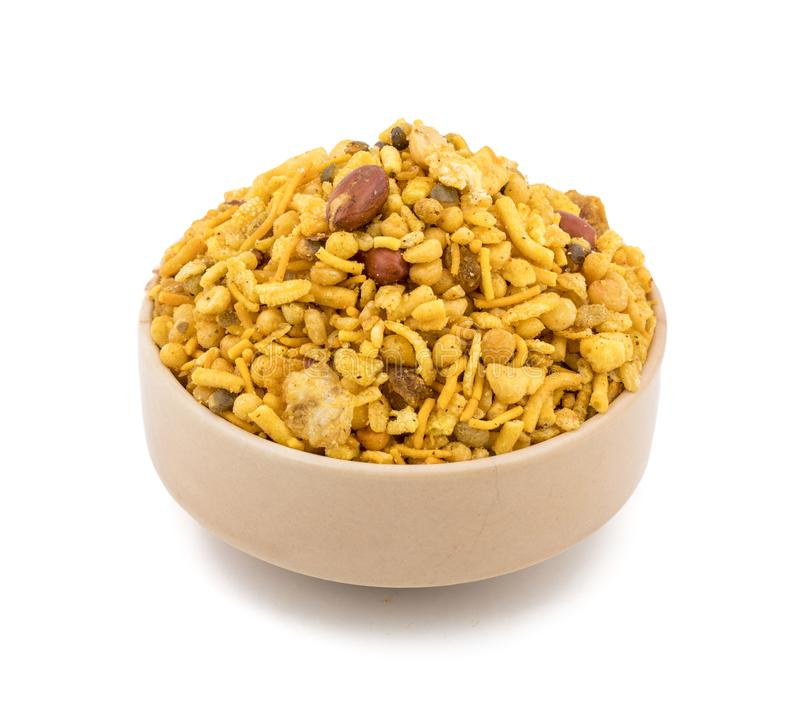 Indian Salty Snack Crunchy Mix Namkeen in Schüssel stockfoto