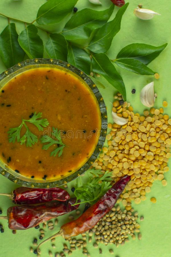 South Indian Traditional Dal with ingrediants. Indian sambar, sambar spices, south indian dal, dal with ingredients, spices, south indian food, dal, dal recipe royalty free stock photos