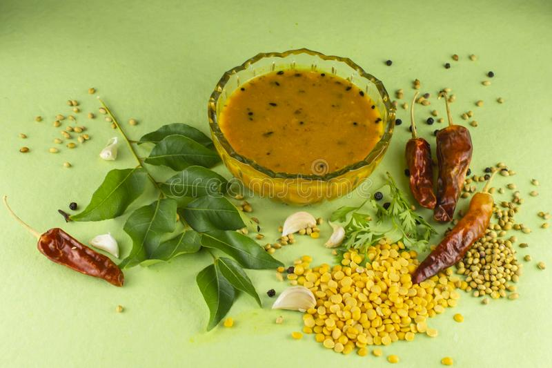 South Indian Traditional Dal with ingrediants. Indian sambar, sambar spices, south indian dal, dal with ingredients, spices, south indian food, dal, dal recipe royalty free stock image