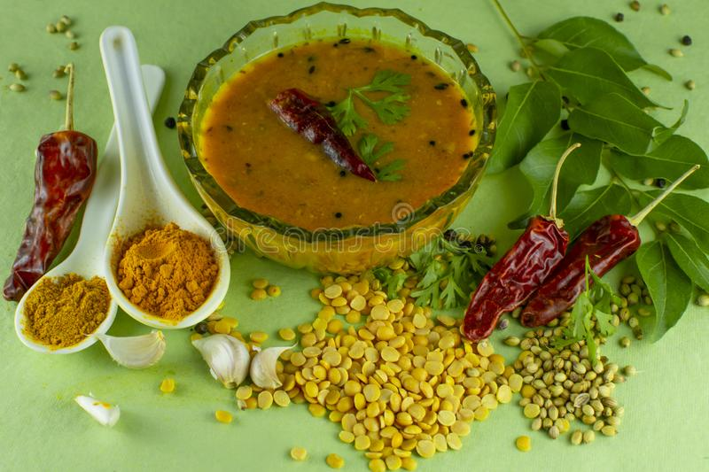 South Indian Traditional Dal with ingrediants. Indian sambar, sambar spices, south indian dal, dal with ingredients, spices, south indian food, dal, dal recipe royalty free stock photography