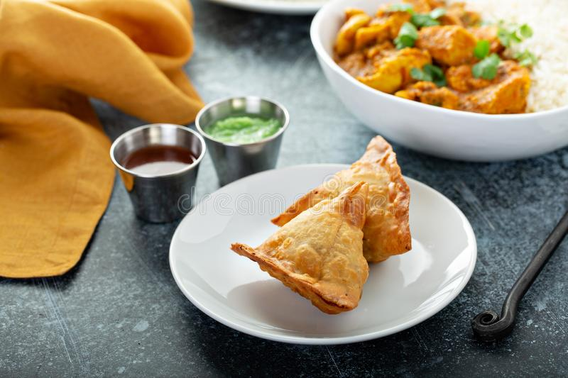Indian samosas with vegetable filling royalty free stock images