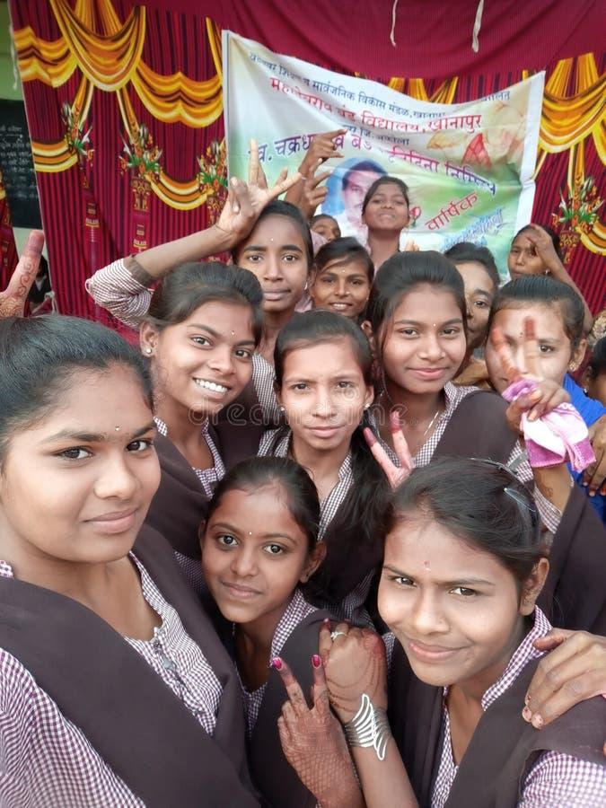 Indian School girls enjoy the gathering stock photo
