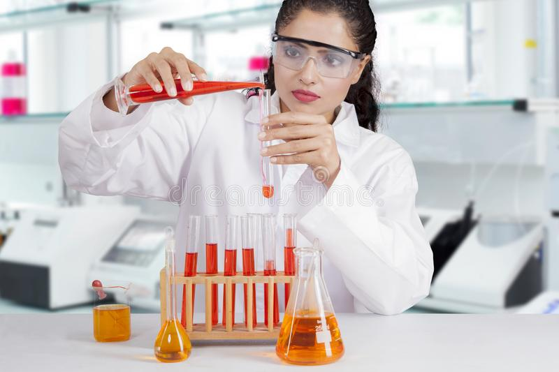 Indian scientist in a laboratory stock image