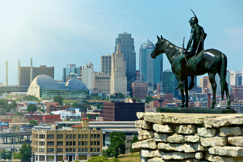 Indian Scout Statue Kansas City Landmark. The Indian Scout is known as a Kansas City landmark and symbol of the city. The scout overlooks the Kansas City Skyline royalty free stock photo