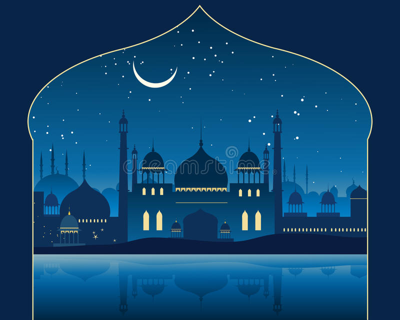 Indian skyline. An illustration of an exotic indian skyline with mogul architecture minarets and mosques under a moonlit starry sky vector illustration
