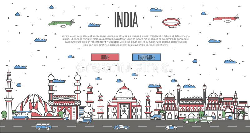 Indian skyline with national famous landmarks. In trendy linear style. Worldwide traveling vector concept, touristic tour advertising with indian historic stock illustration