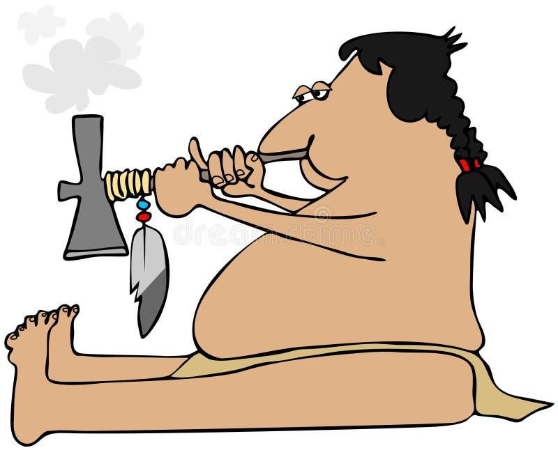 Download Indian Smoking A Tomahawk Peacepipe Stock Illustration - Image: 26196015