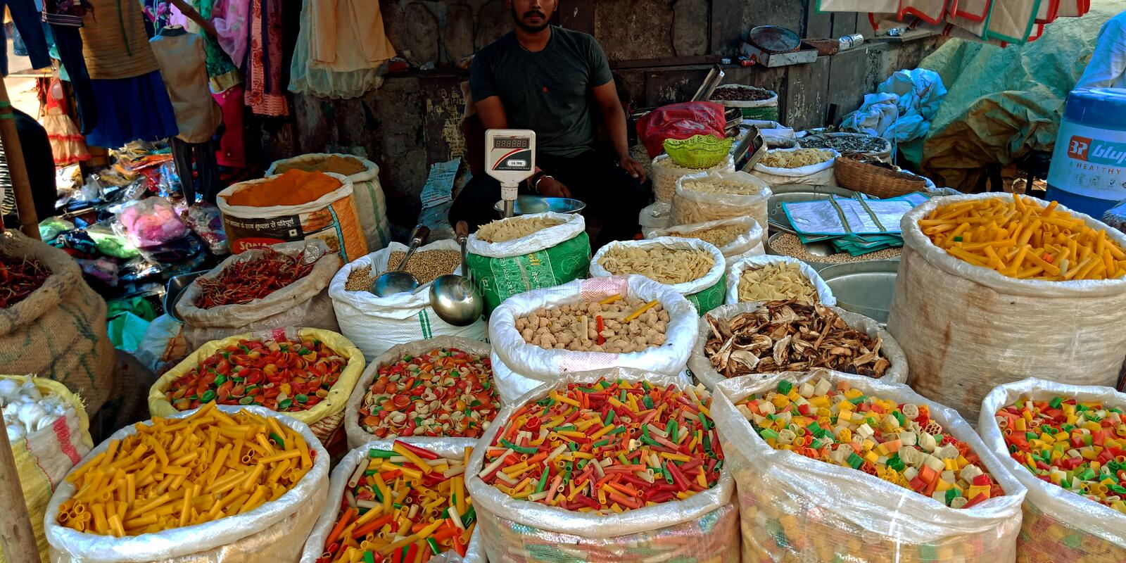 Indian snacks. Food, wholesale, store, village, woman, carried, vegetable, container, head, local, market, farmers, selling, vegetables, street, empty, basket royalty free stock photo
