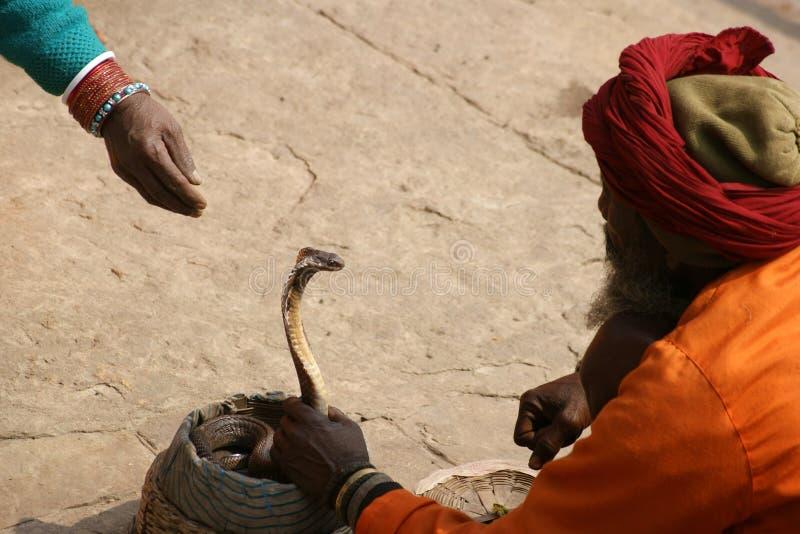 Indian snake charmer. In the city of Varanasi, India stock photo