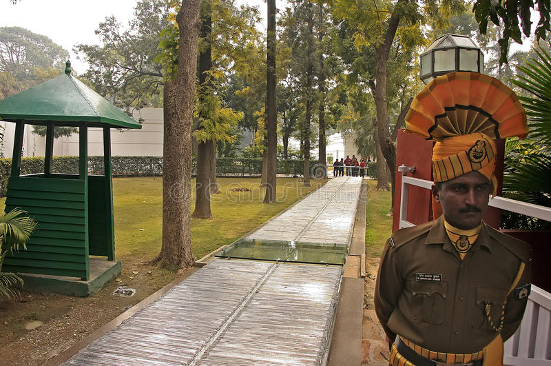 Indian soldier guarding place where Indira Gandhi was killed, I stock photos