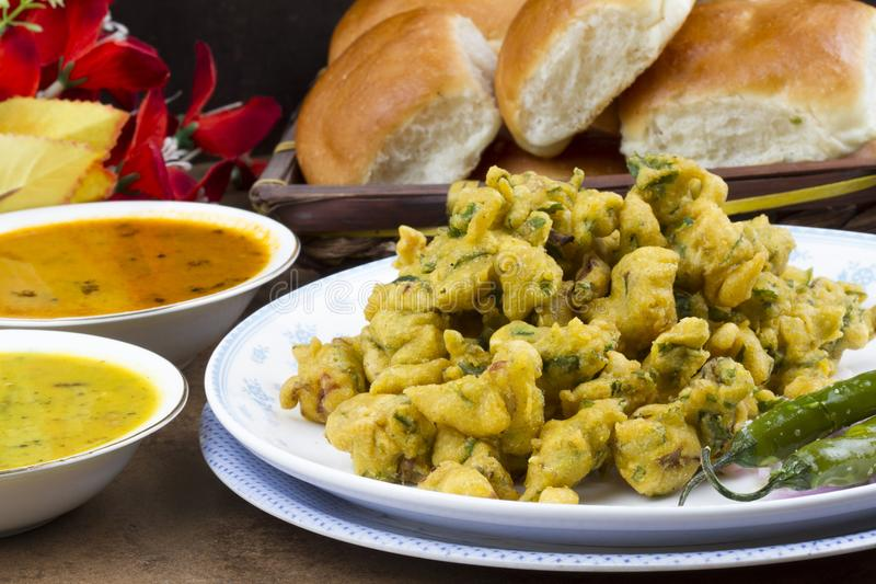 Pakora or bhajji. Indian special traditional fried food Pakora and chutney royalty free stock image
