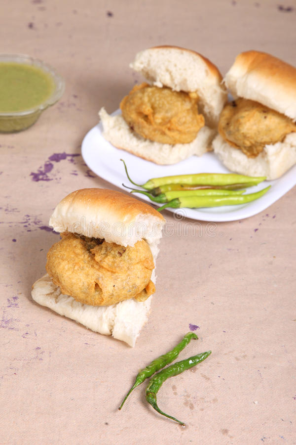 Indian special traditional fried food vada pav royalty free stock photography
