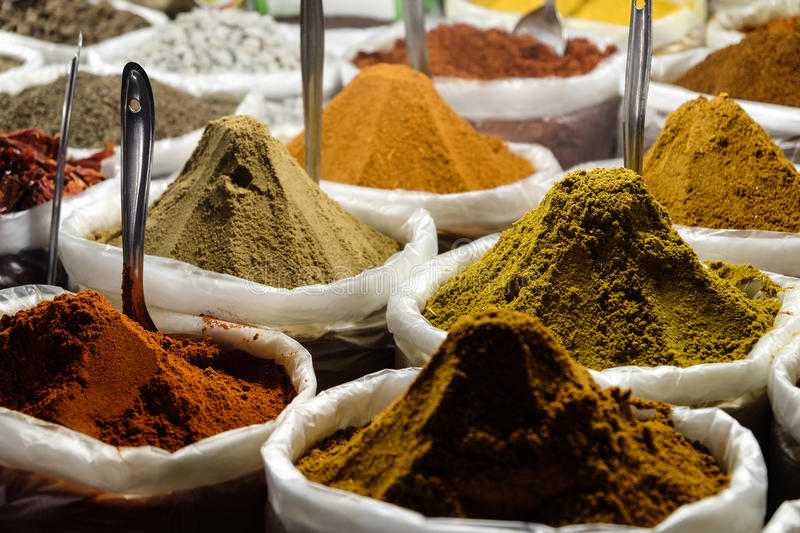 Indian spice. For sale at market stall royalty free stock image