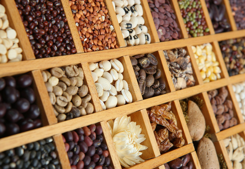 Indian Spices, Beans and Seeds stock image