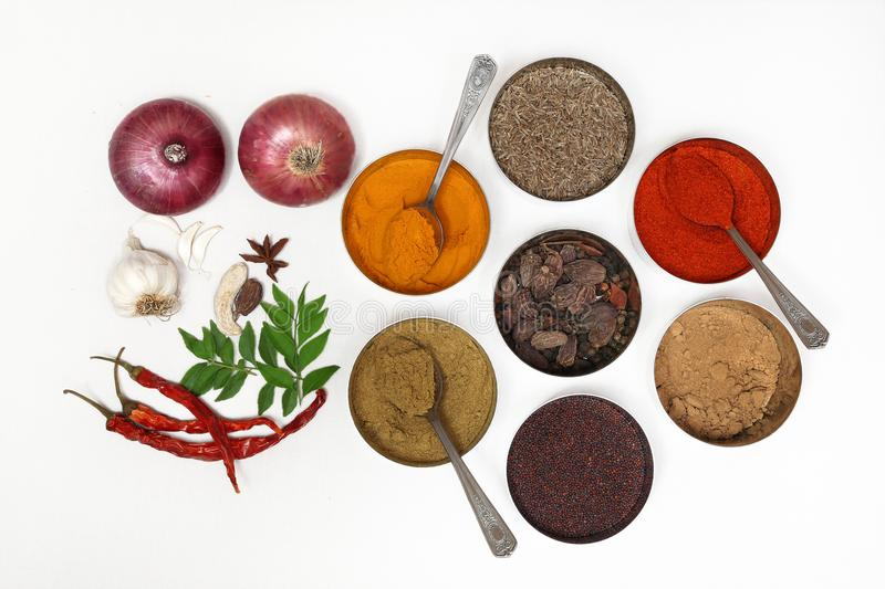 Indian Spices in bowls. Dry Spices with garlic,green chili and onions stock photo