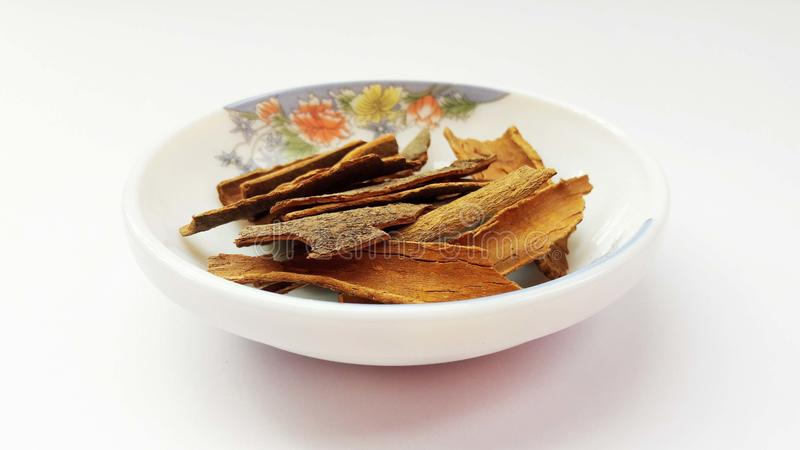 indian spices cinnamon  on white background stock photography