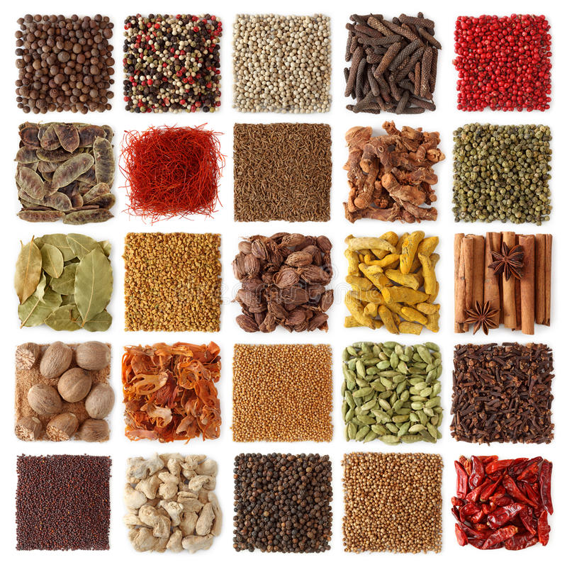 Indian spices collection stock images