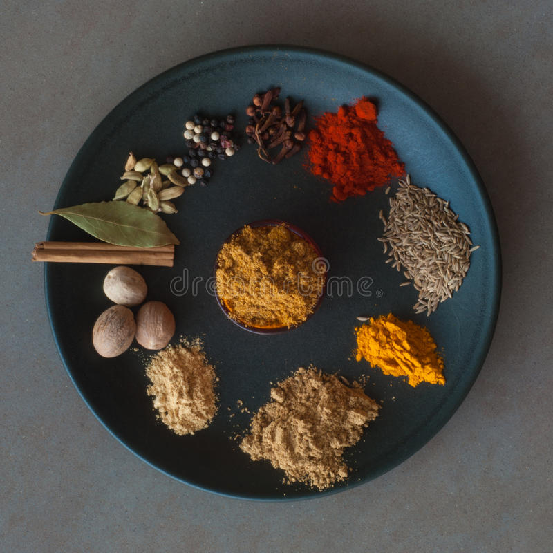 Indian Spices. The components of garam masala spice mix around a small bowl of garam masala. Spices from the top going anti clockwise are : cloves, pepper