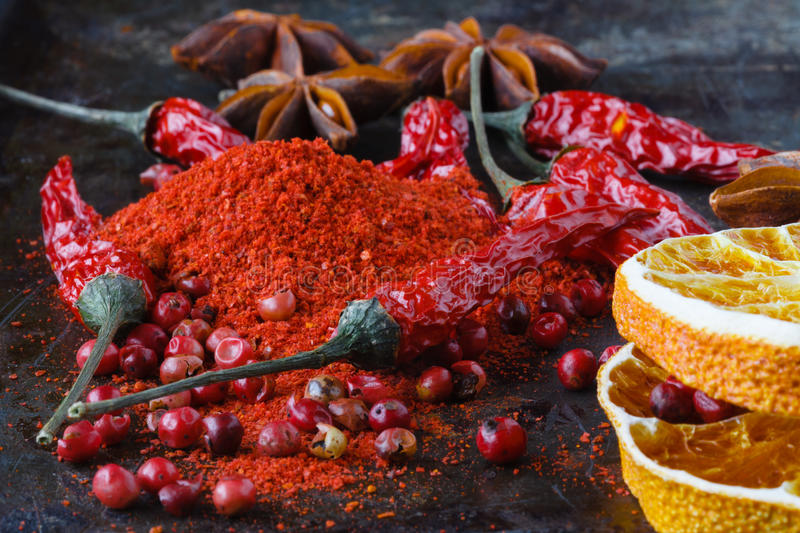 Indian spices selection over dark. Food or spicy cooking concept. Healthy eating Background stock image