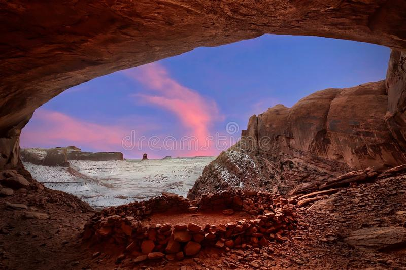 Indian spiritual place False Kiva in sandstone alcove with canyon view in winter. royalty free stock photography