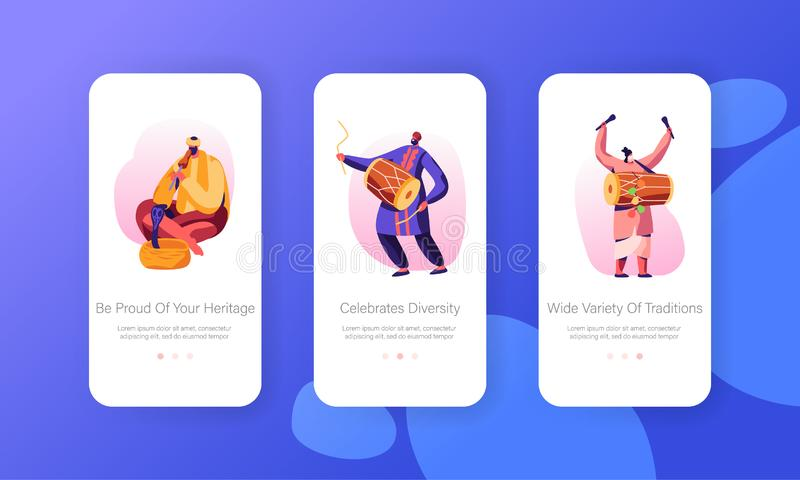 Indian Street Artists Play Music on Traditional Instruments, Yogi Playing on Pipe for Cobra Snake Mobile App Page Onboard Screen. Set Concept for Website or Web vector illustration