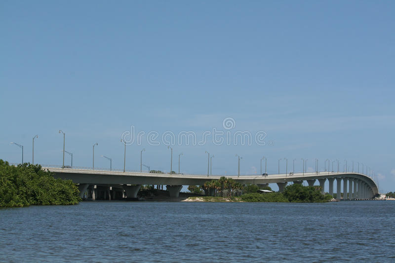 Indian River Bridge. In Stuart, Florida, United States crossing the Indian River completed in 2014, blue sky background royalty free stock photography