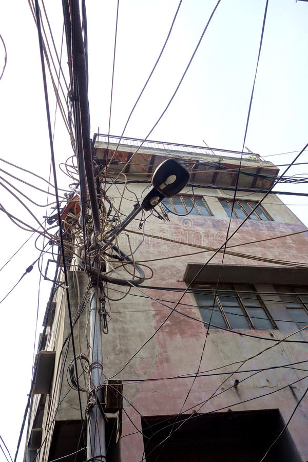 indian street electrical wiring stock photo image of hangs supply rh dreamstime com Telco Wiring India Overhead Wiring in India