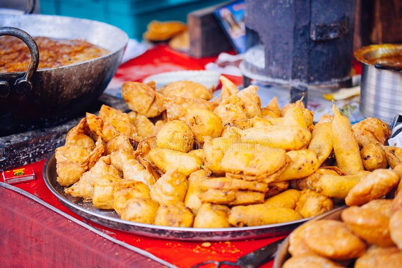 Indian street food in Pushkar city. Rajasthan, India stock images