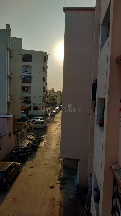 Indian street photo hazy sunshine good location stock image