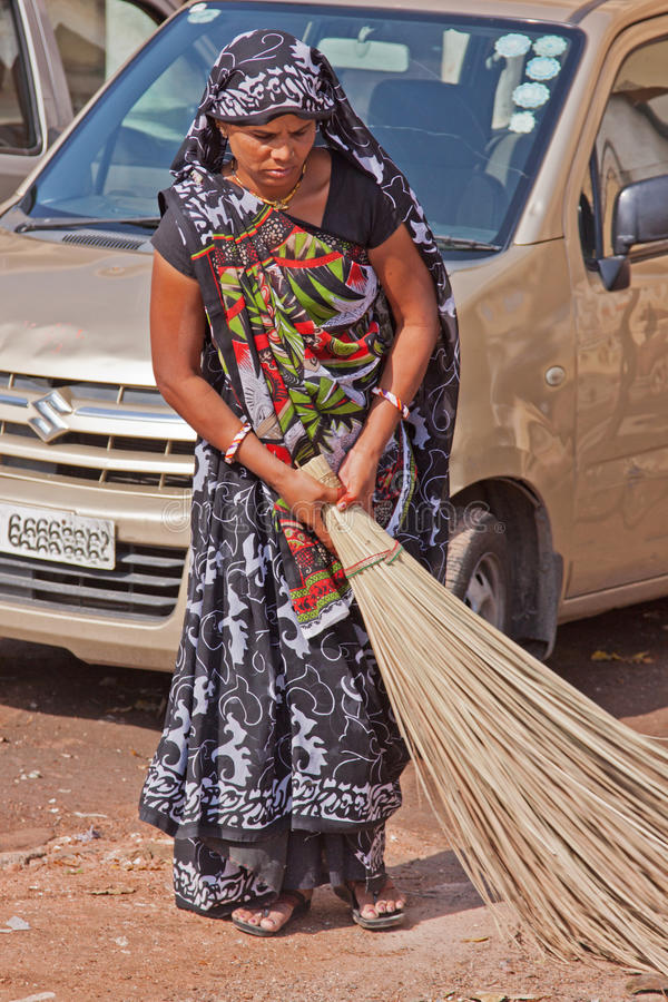 Indian Street Sweeper royalty free stock photo