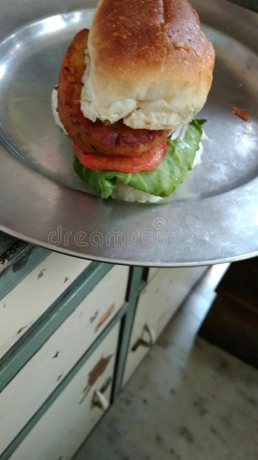 Indian style burger very delicious stock photo