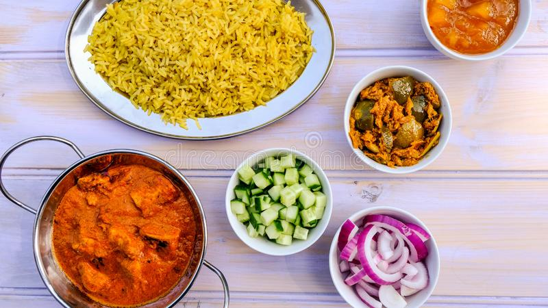 Indian Style Butter Chicken Curry and Rice royalty free stock images