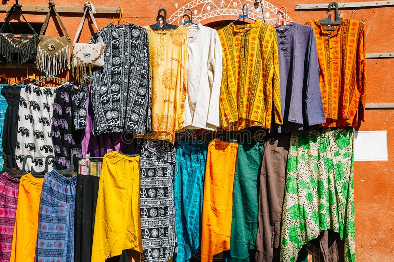 Indian style clothes shop, street market in India stock photo