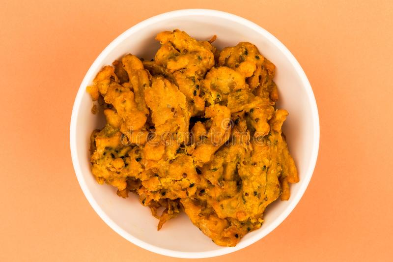 Indian Style Snack Of Fried Onion Bhajis stock images