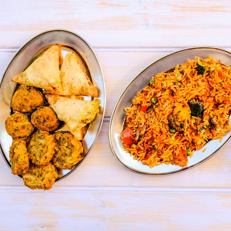 Indian Style Vegetable Biryani Meal stock images