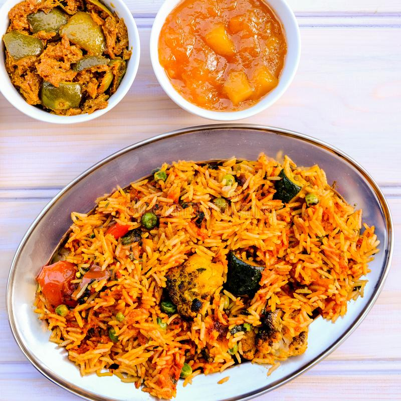 Indian Style Vegetable Biryani Meal royalty free stock photo