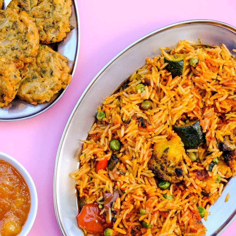 Indian Style Vegetable Biryani Meal stock photography