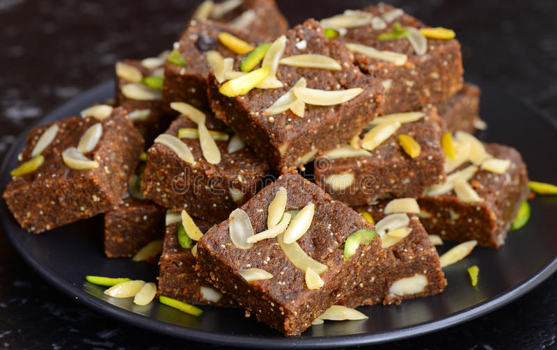 Indian Sweet - Khorak Mithai. Khorak-Indian sweets prepared out of Milk,flour,poppy seeds, sugar,dryfruits and aromatic ingredients royalty free stock images