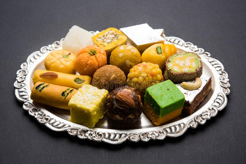 Indian sweets for diwali festival or wedding, selective focus royalty free stock photo