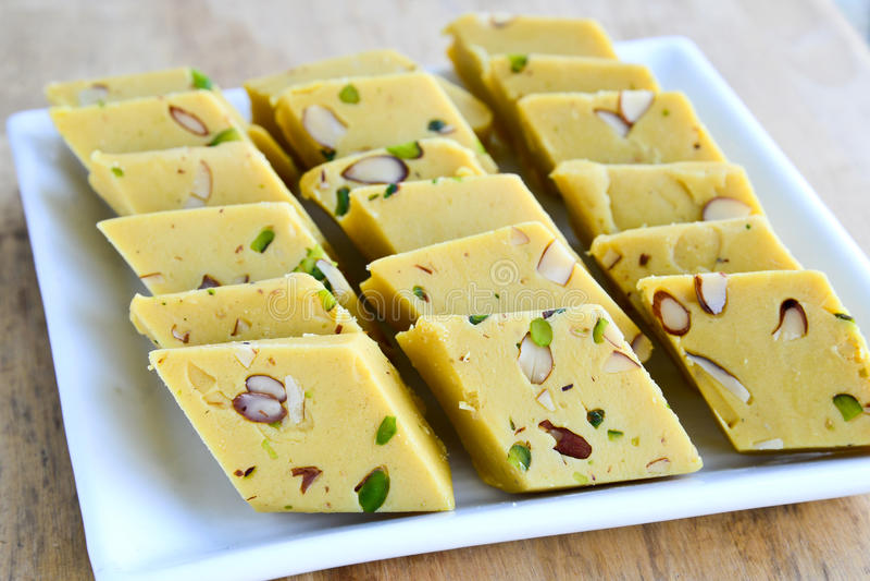 Indian Sweets - mango Burfi stock photo