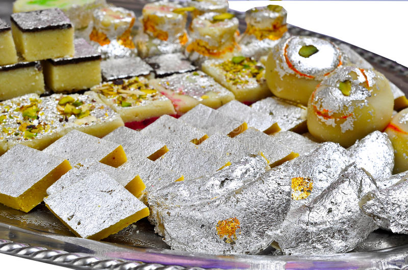 Indian Sweets - Mithai. These are sweets from India prepared out of Milk product, sugar and aromatic ingredients stock image