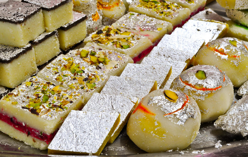Indian Sweets - Mithai. These are sweets from India prepared out of Milk product, sugar and aromatic ingredients royalty free stock photography