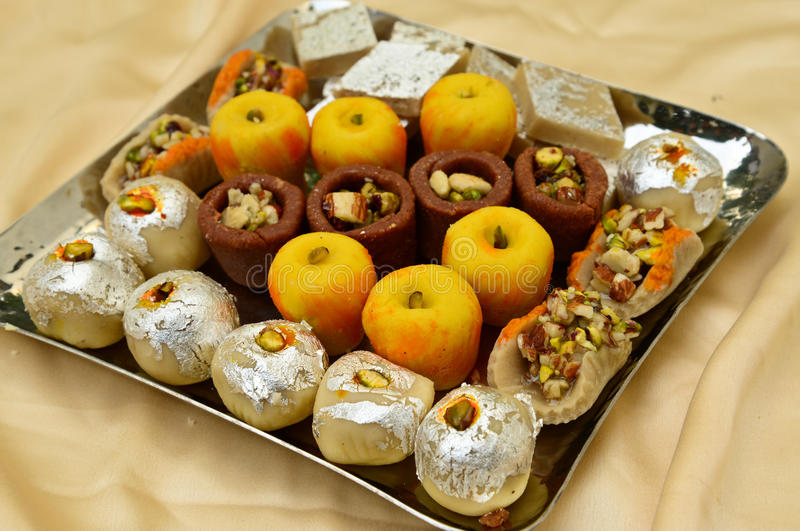 Indian Sweets - Mithai. These are sweets from India prepared out of Milk product, sugar and aromatic ingredients stock images
