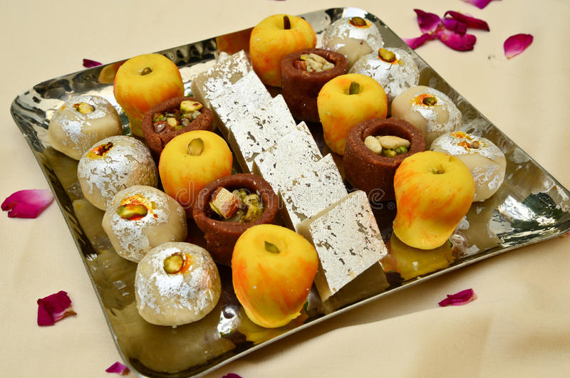 Indian Sweets - Mithai. These are sweets from India prepared out of Milk product, sugar and aromatic ingredients royalty free stock photo