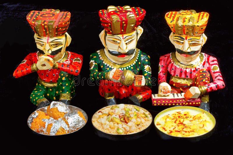 Indian Sweets. Rasmalai, Motichur Ladoo, Churma, Pune stock image