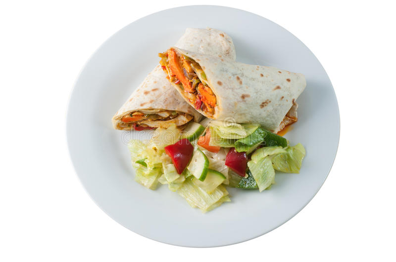 Indian tandoori chicken roll or twister with side salad royalty free stock photography