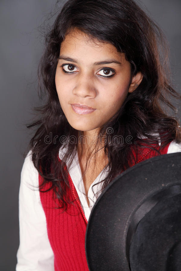 Indian Teen In Black Hat Stock Image Image Of Athlete -3279
