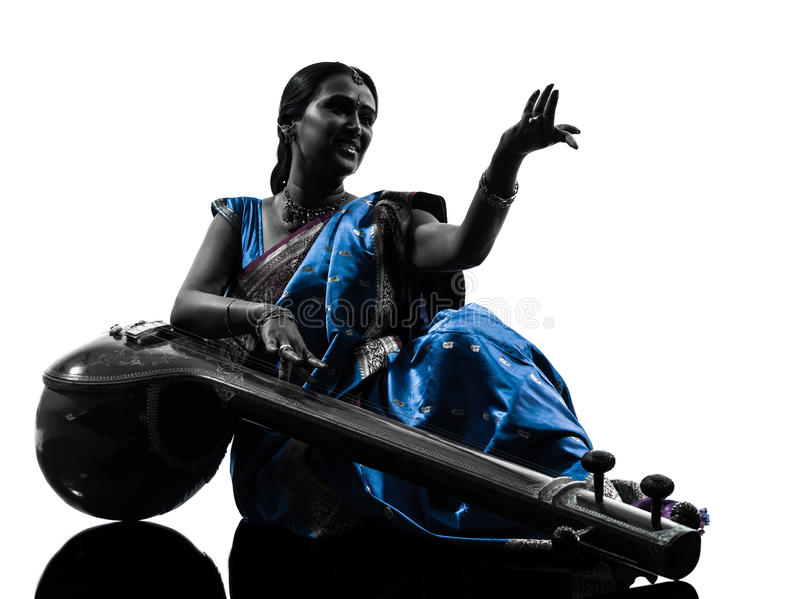 Download Indian Tempura Musician Woman   Silhouette Stock Image - Image: 28754571