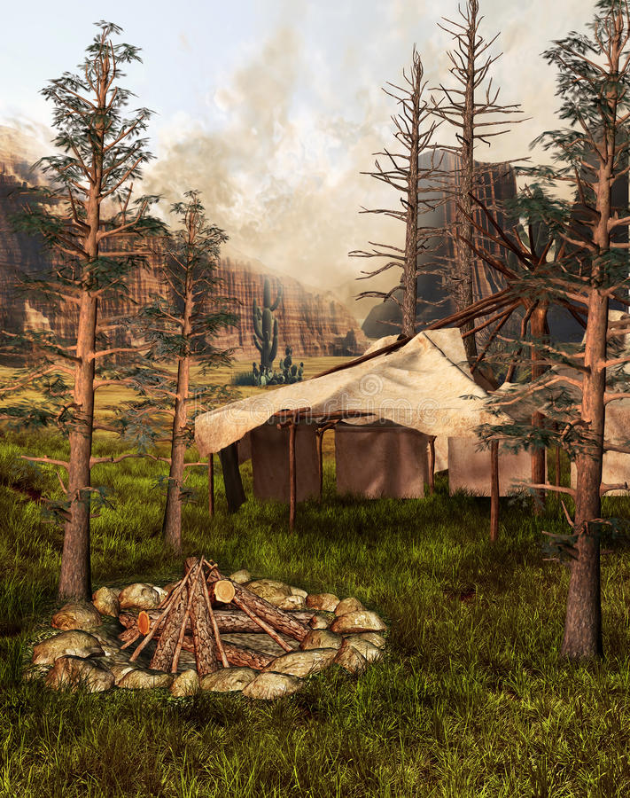 Download Indian Tent In An Old Forest Royalty Free Stock Image - Image: 23620906