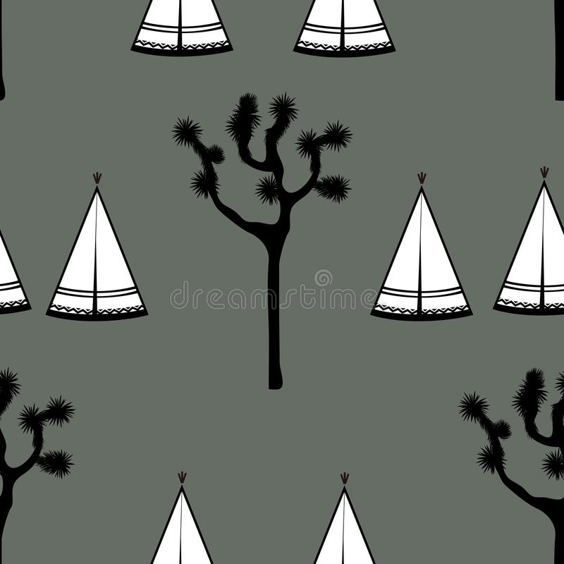 Indian tents and joshua tree seamless pattern. Indian tents and joshua tree on white background. Cute design for textile, wallpapers, kids industry. Vector stock illustration